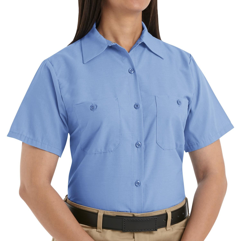 Red kap sp23 women 39 s industrial work shirt short sleeve for Light blue work shirt