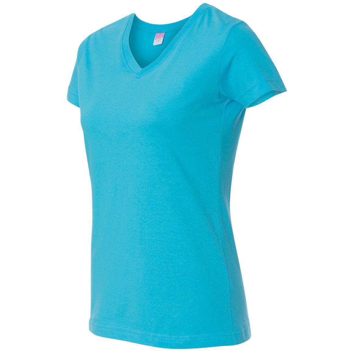 Lat 3507 women 39 s fine jersey v neck t shirt aqua for Aqua blue color t shirt