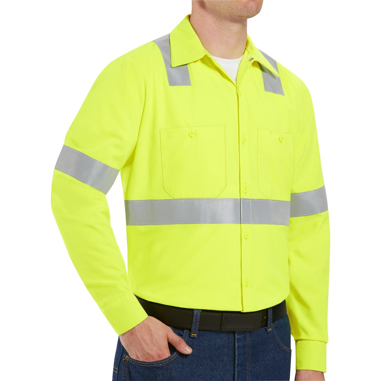 red kap ss14 hi visibility ansi class 2 work shirt long