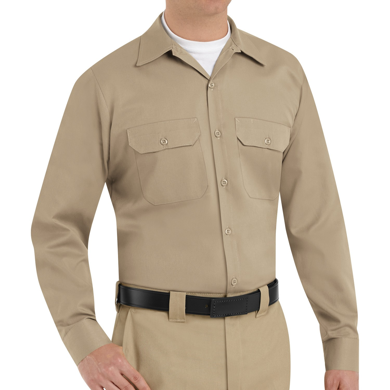 Red kap st52 men 39 s utility uniform shirt long sleeve for Uniform shirts for men