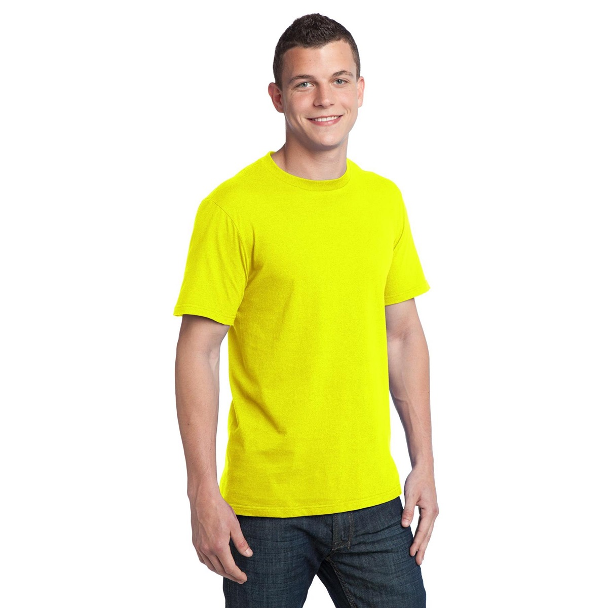 District dt5000 young mens concert tee neon yellow for Bulk neon t shirts