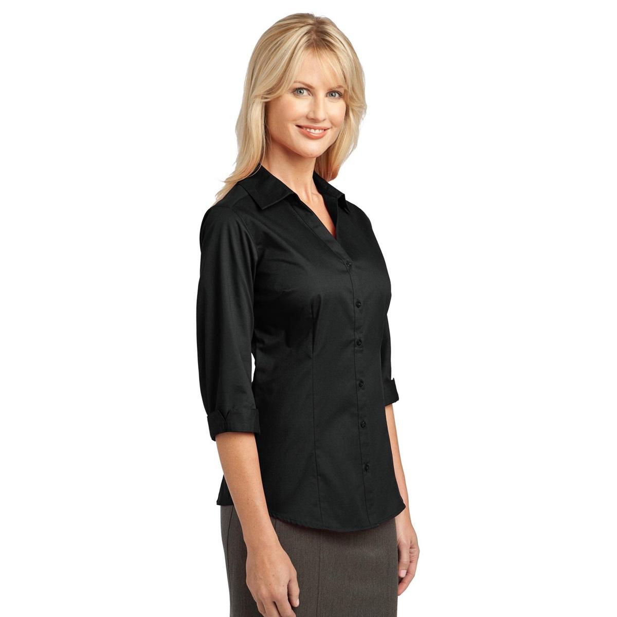 Ladies 3 4 sleeve blouse black dressy blouses for No iron white shirt womens