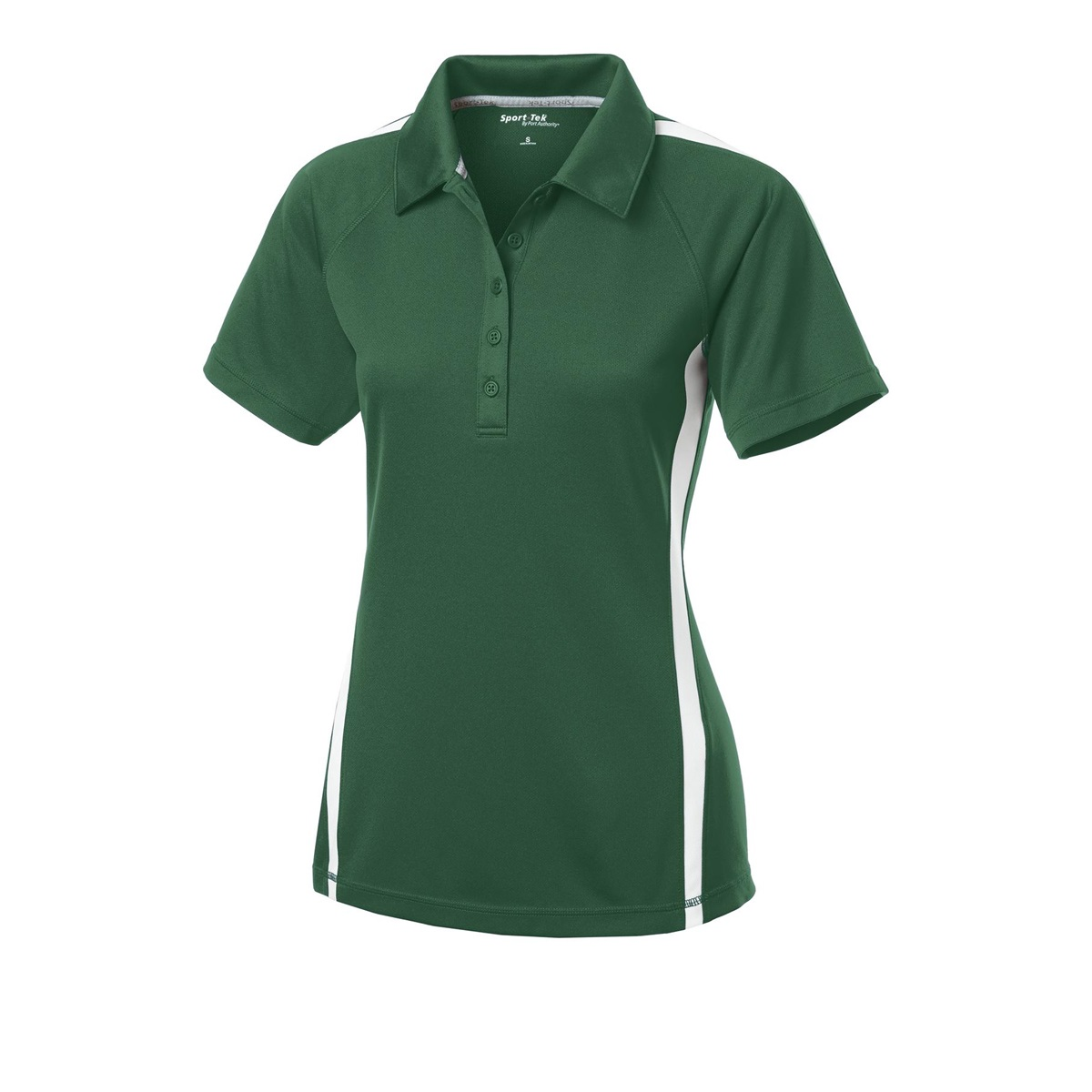 Sport tek lst685 ladies posicharge micro mesh colorblock for Forest green polo shirts