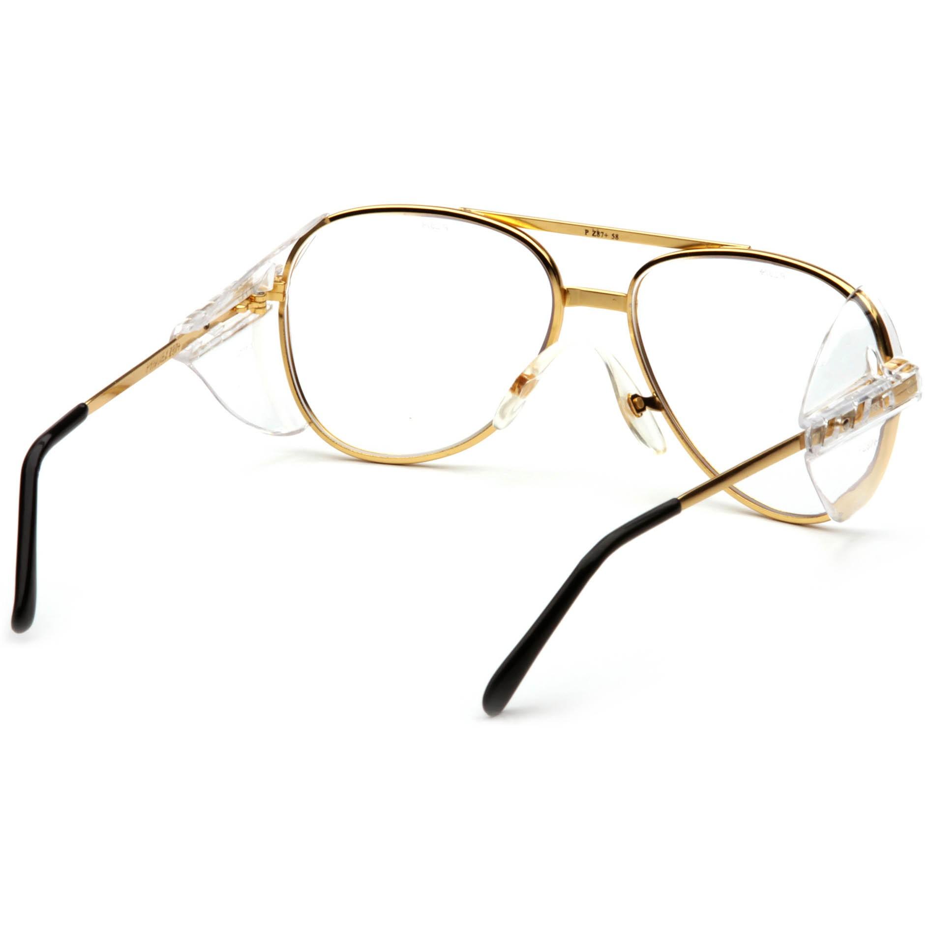 Clear Lens Gold Frame Glasses : Pyramex Pathfinder Safety Glasses - Gold Metal Frame ...