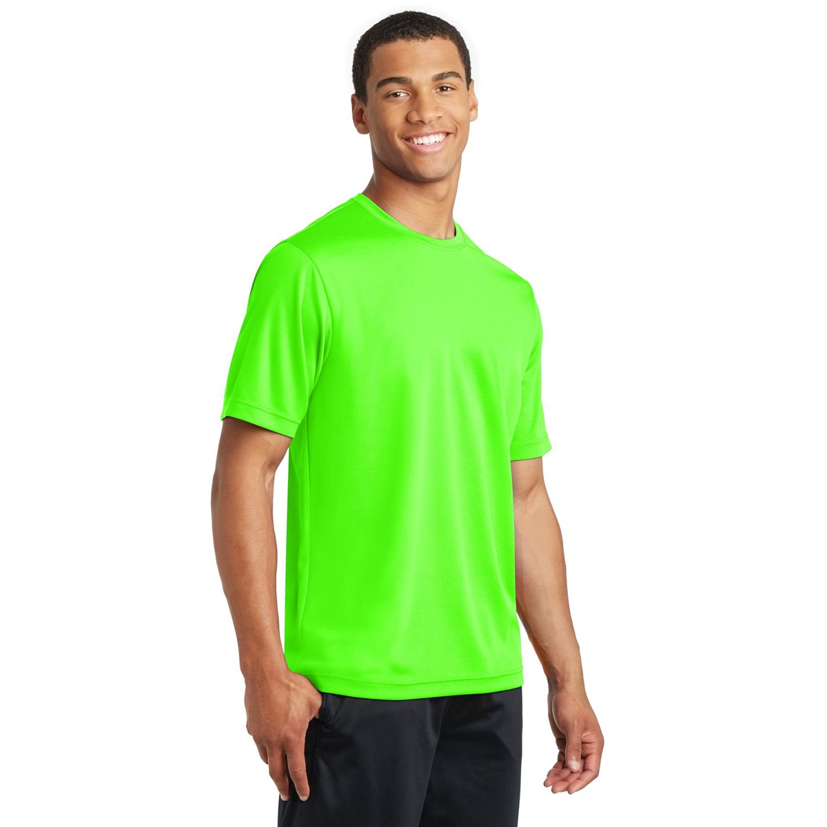 Sport tek st340 posicharge racermesh tee neon green for Bulk neon t shirts