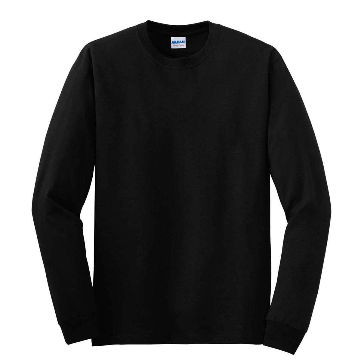 Gildan 5400 heavy cotton long sleeve t shirt black for Black and blue long sleeve shirt