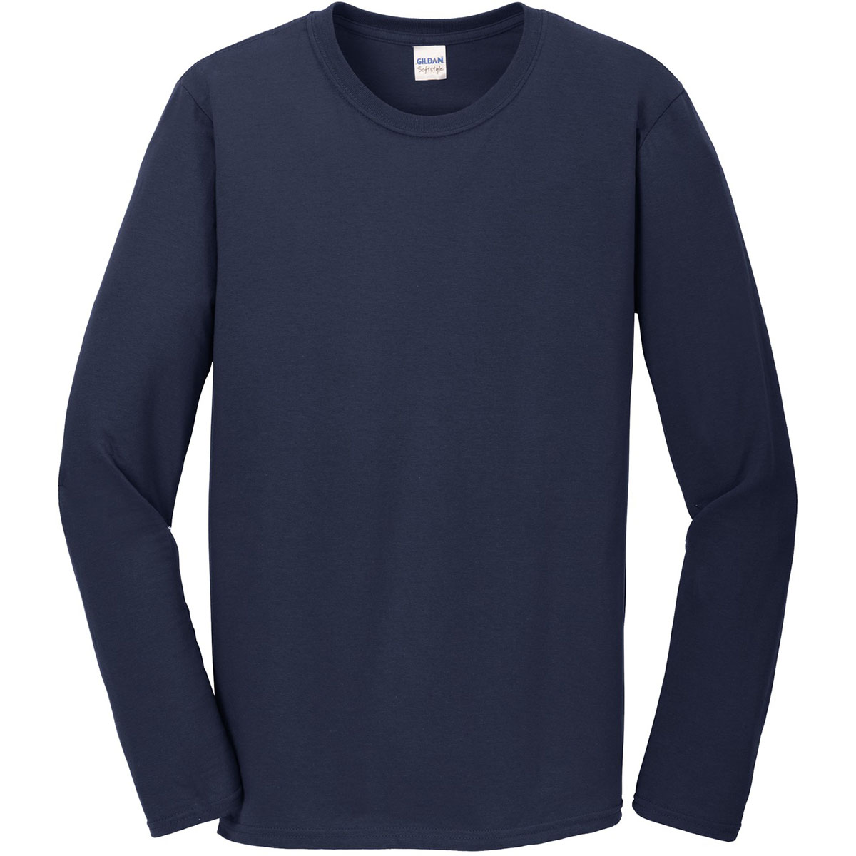 Gildan 64400 softstyle long sleeve t shirt navy for Gildan brand t shirt size chart