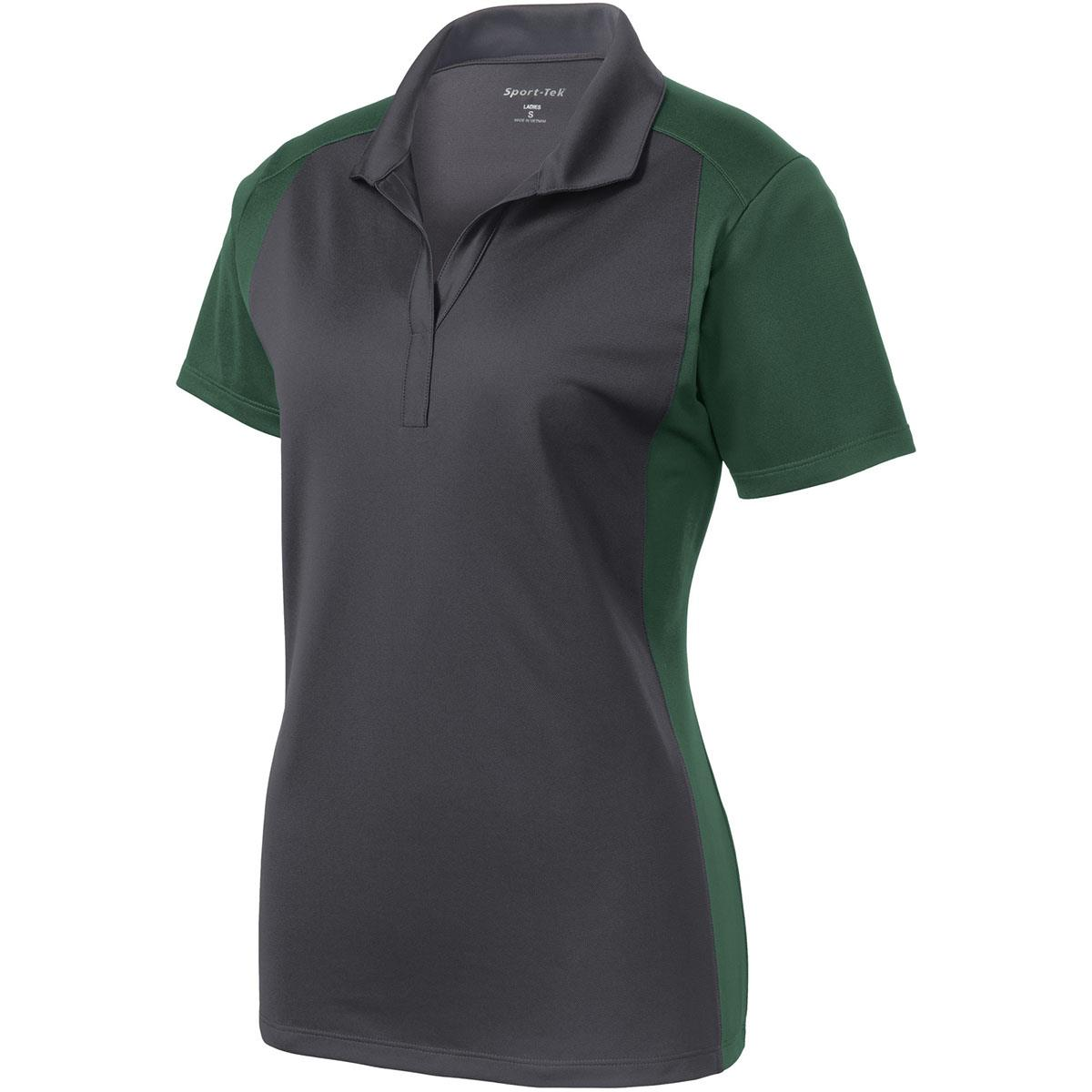 Sport tek lst652 ladies colorblock micropique sport wick for Forest green polo shirts