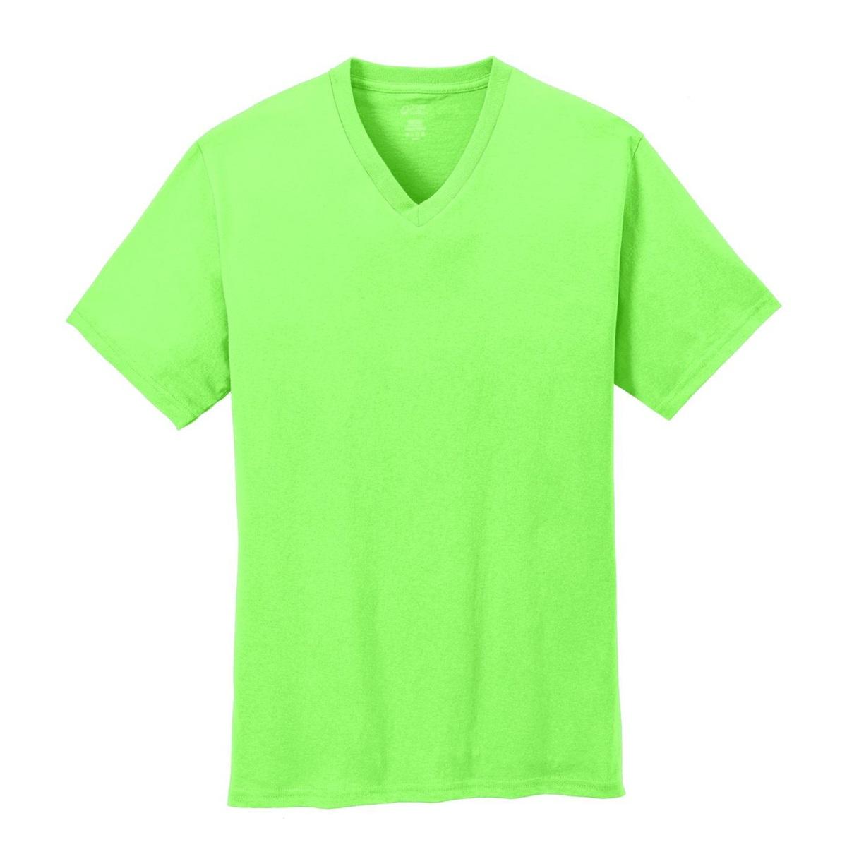 Port & Company PC54V 5.4-oz Cotton V-Neck T-Shirt - Neon ...