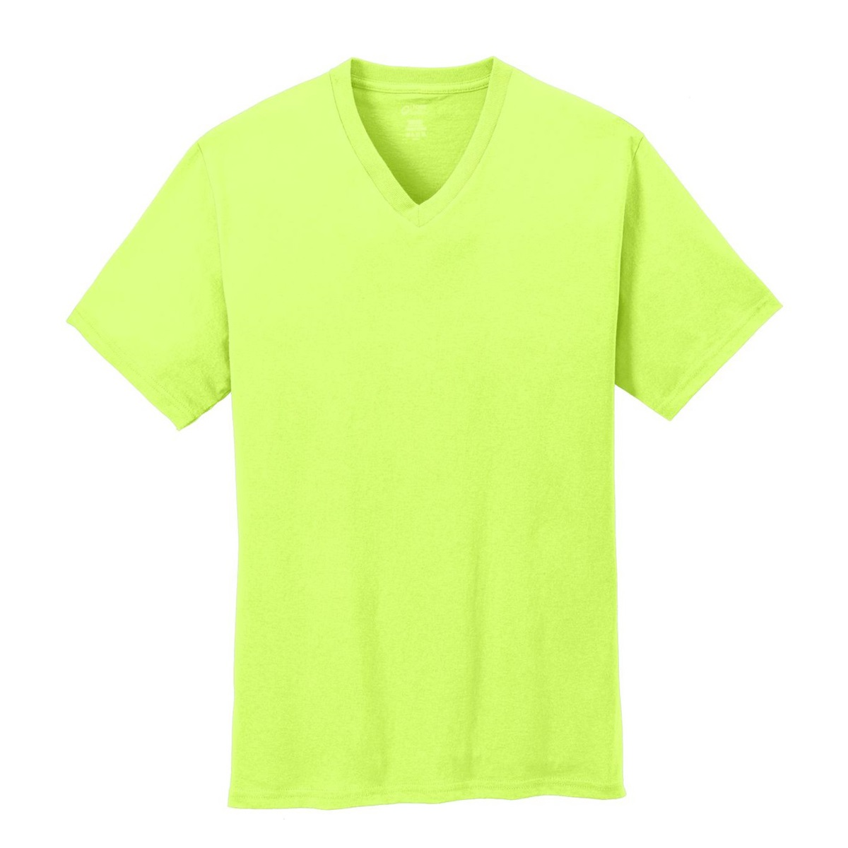Port company pc54v 5 4 oz cotton v neck t shirt neon for Neon coloured t shirts